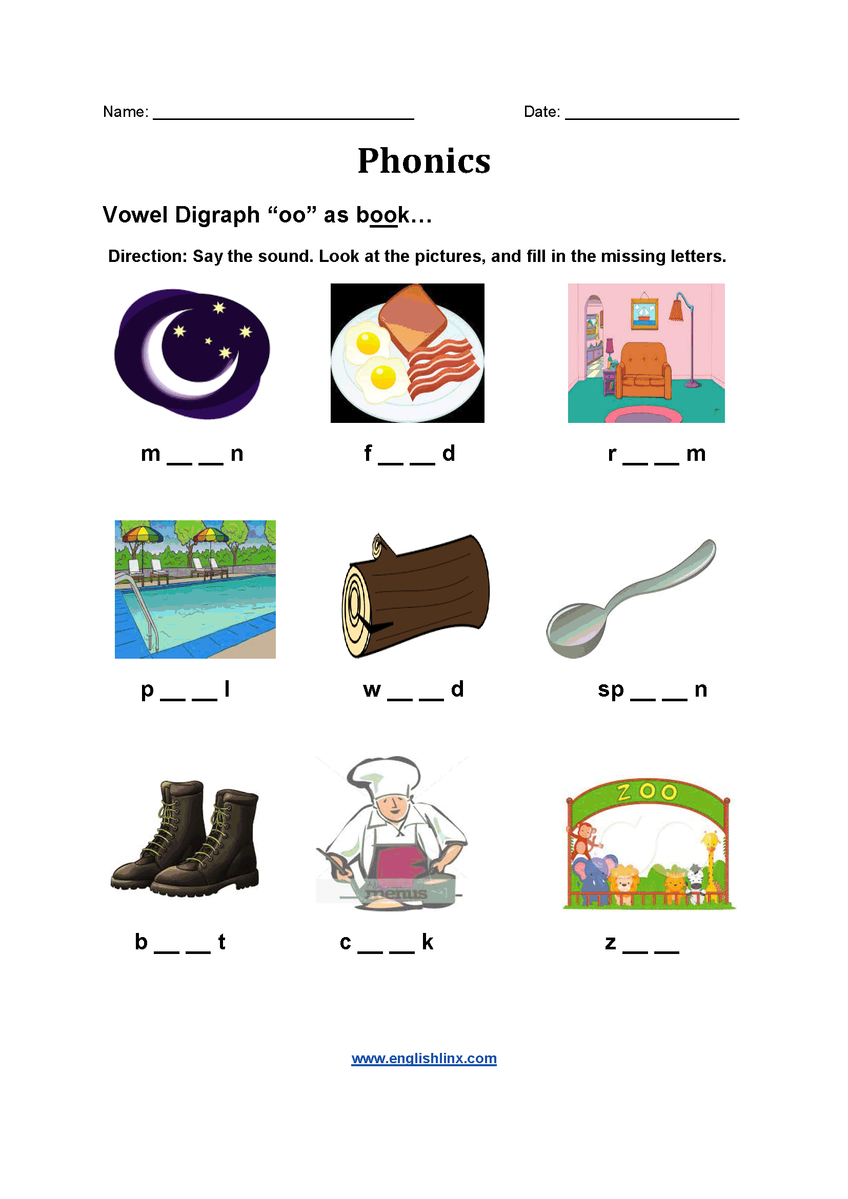 Vowel Sound Printable 1st Grade Phonics Worksheet