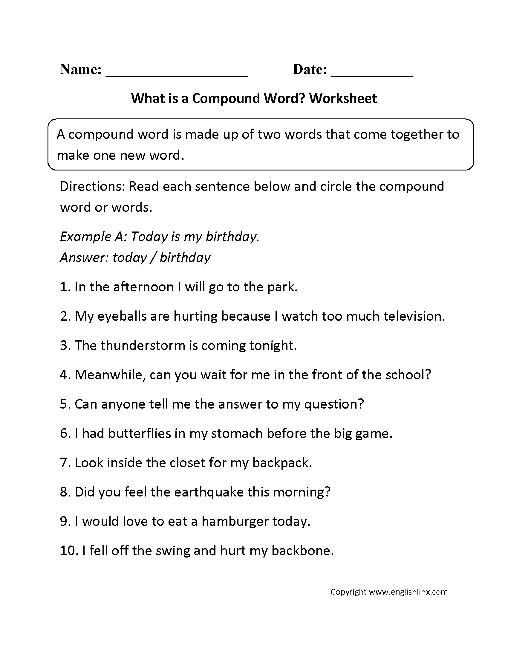 Compound Worksheet For 1st Grade