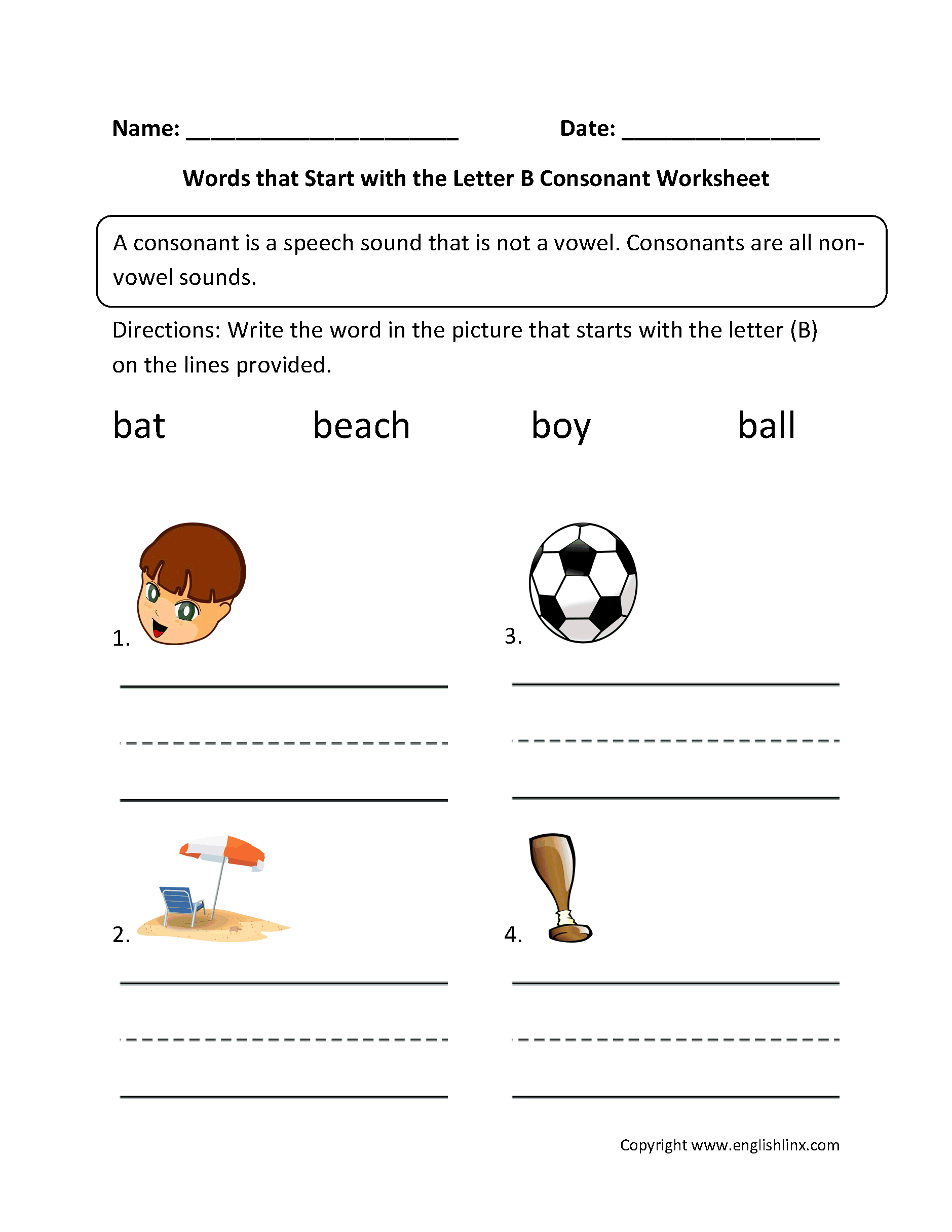 Consonants Worksheets