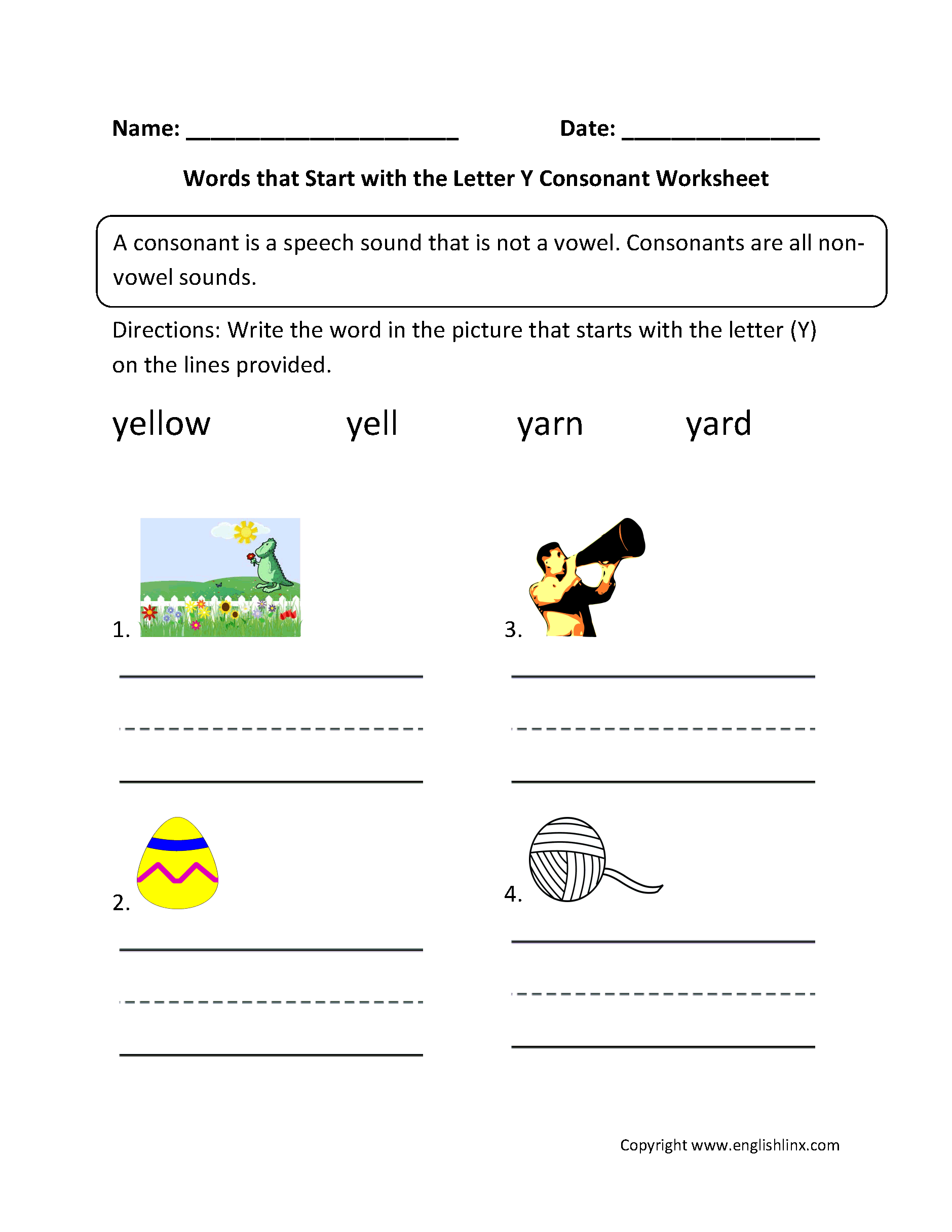 Y Yellow Worksheet