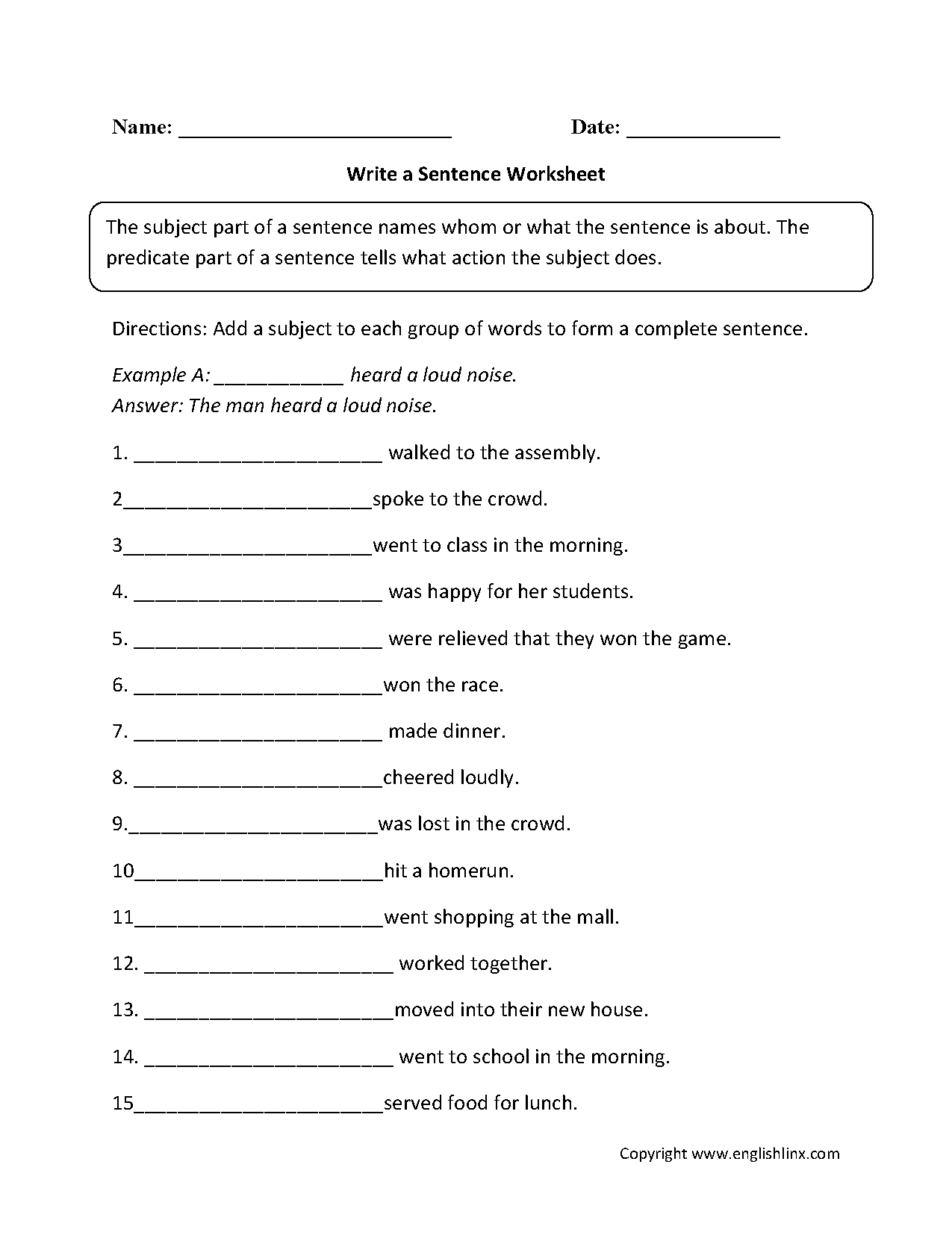 Sentence Structure Homework Year 3