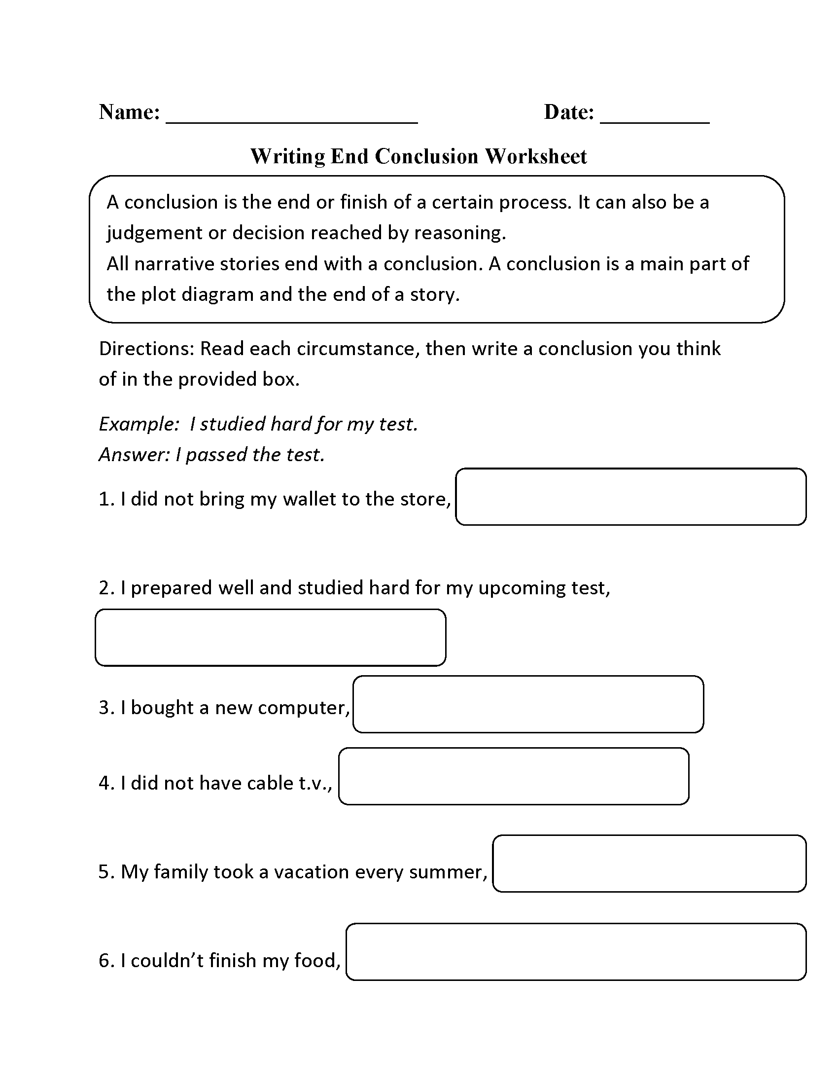 Writing Conclusions Worksheets