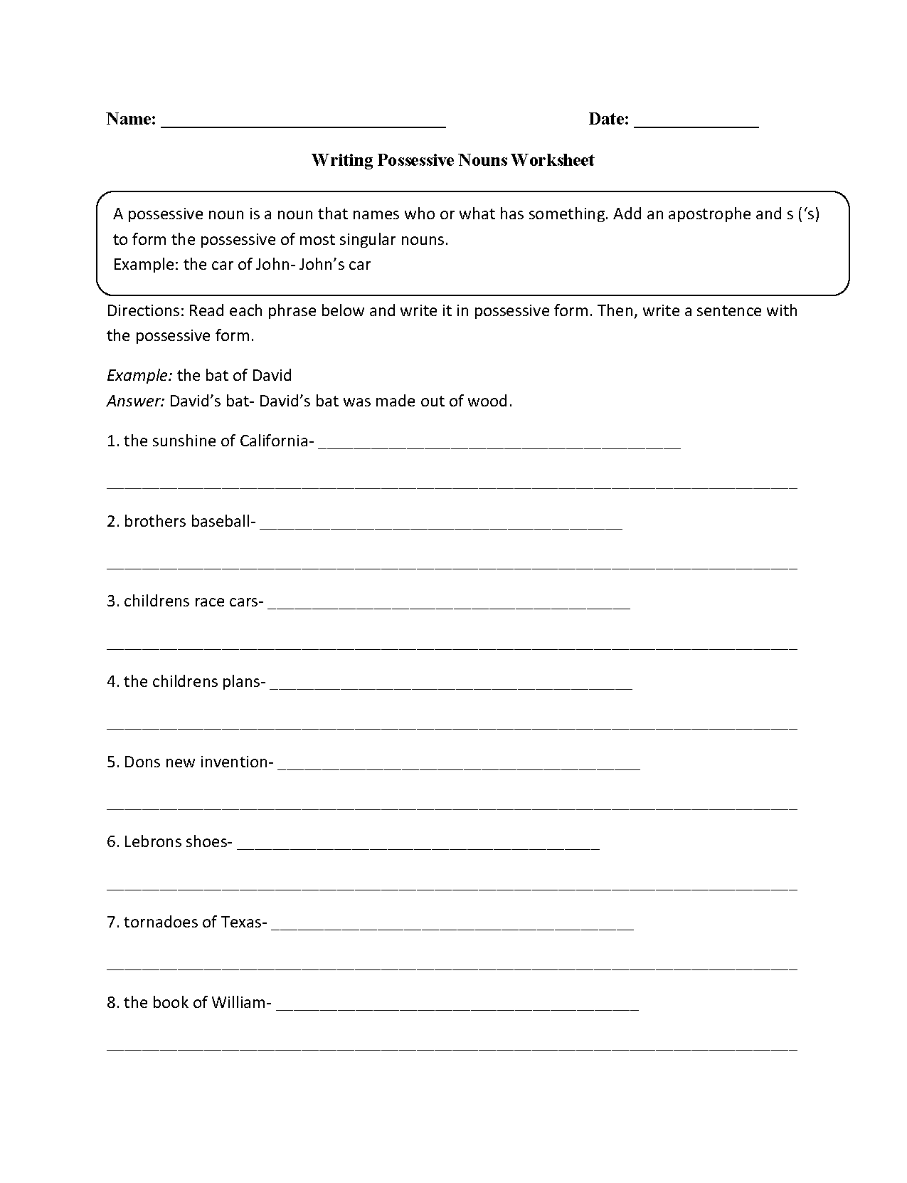 Singular And Possessive Nouns Worksheet