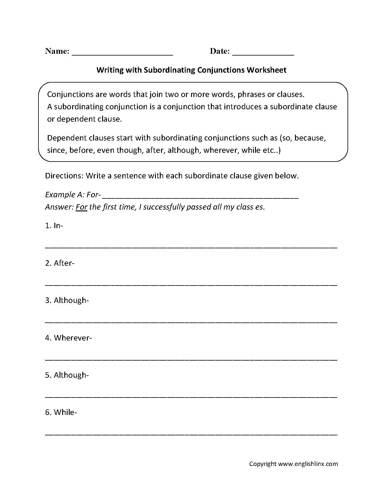Independent Clause Worksheet 4th Grade