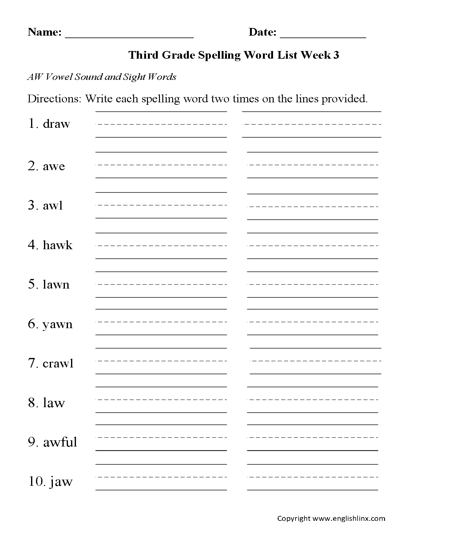 2nd Grade Sound Worksheet