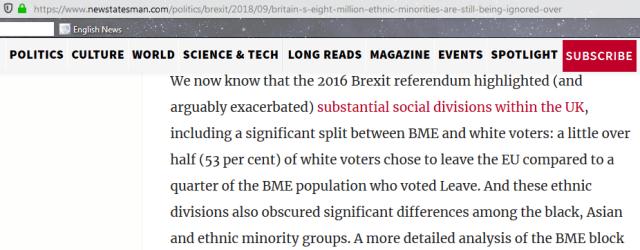Brexit was Racism