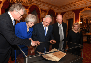 Netanyahu-Balfour-Declaration-Theresa-May slave of the Jews