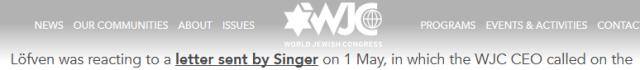 World Jewish Congress Sweden Lobbying