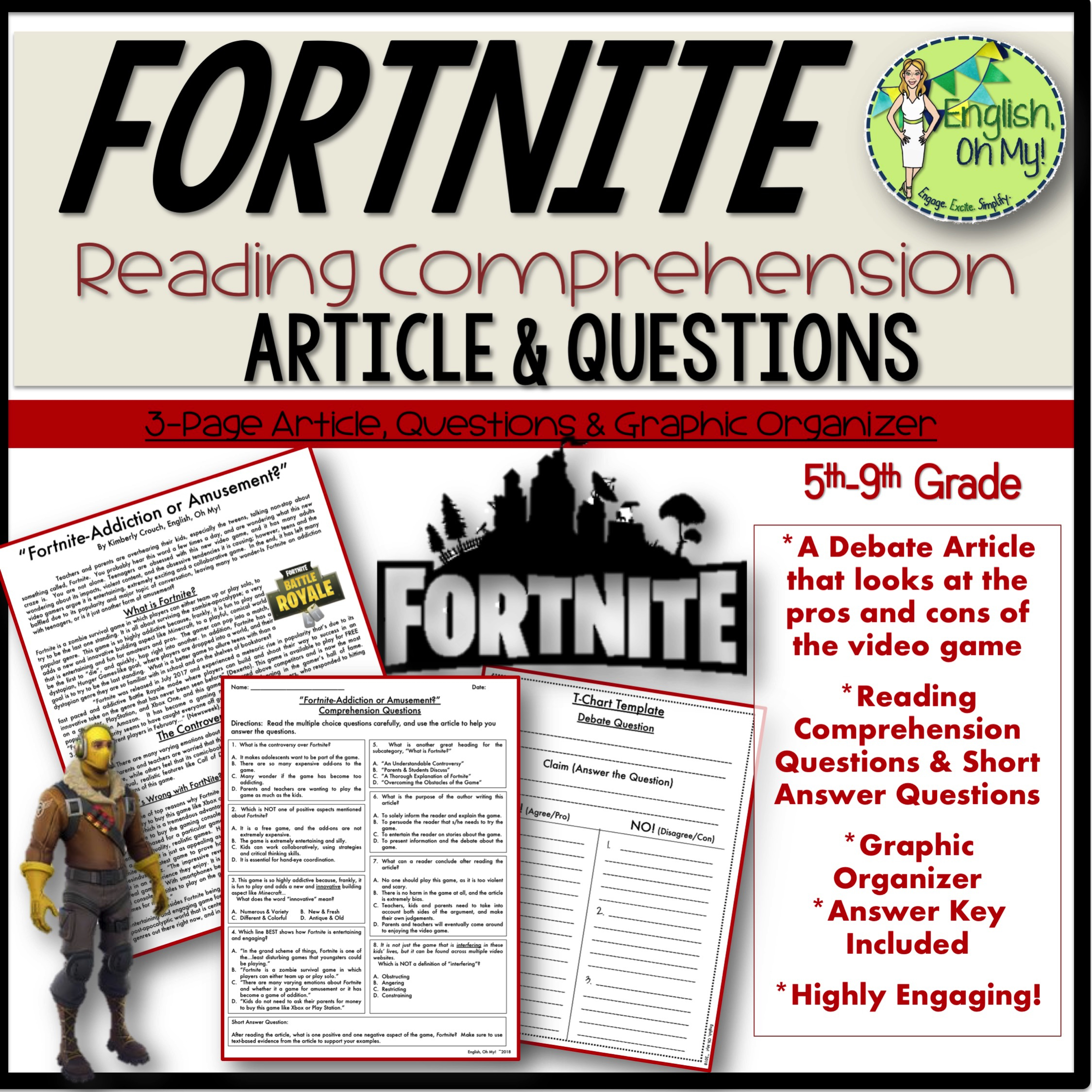 Fortnite Reading Comprehension Amp Writing Activity
