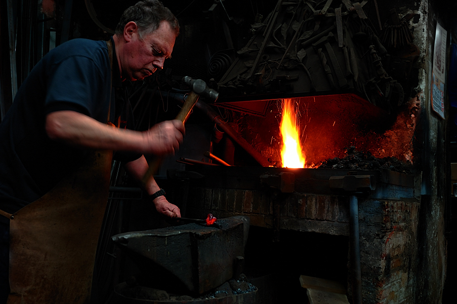 Photograph of Alfons Marco Catalan Blacksmith in Barcelona Spain By English Photographer Ben
