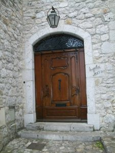 Beautiful Wooden Door on French Stone House