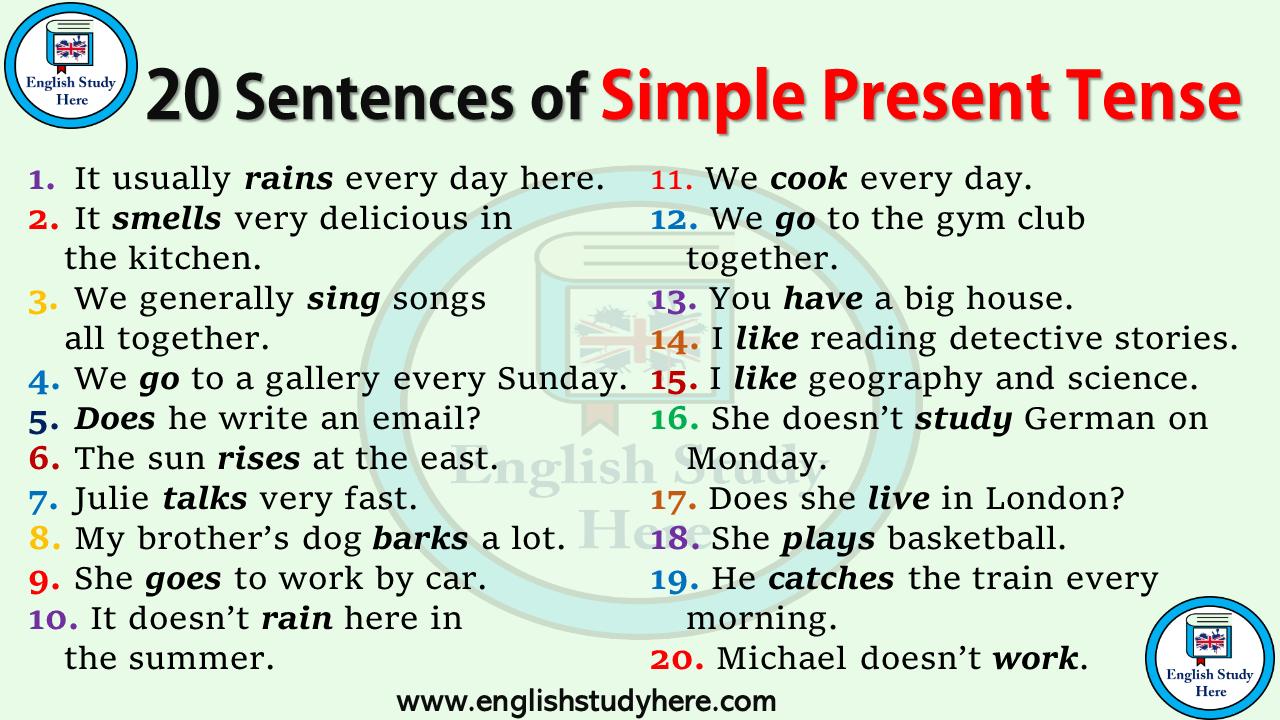 20 Sentences In Simple Present Tense