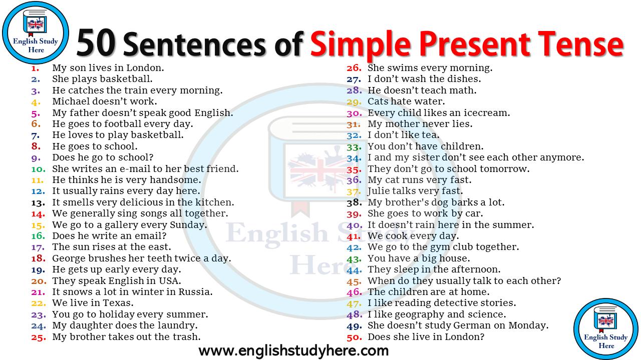 50 Sentences Of Simple Present Tense