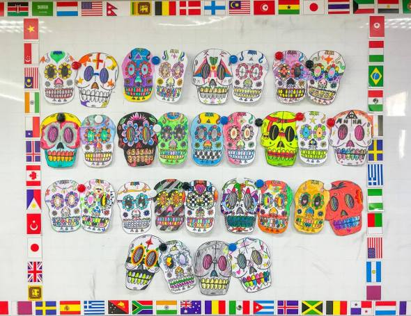 Halloween Activity: Colorful Day of the Dead Skulls
