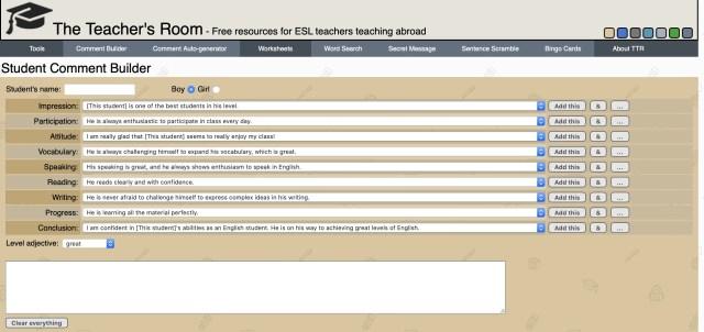 The Teacher's Room Comment Builder