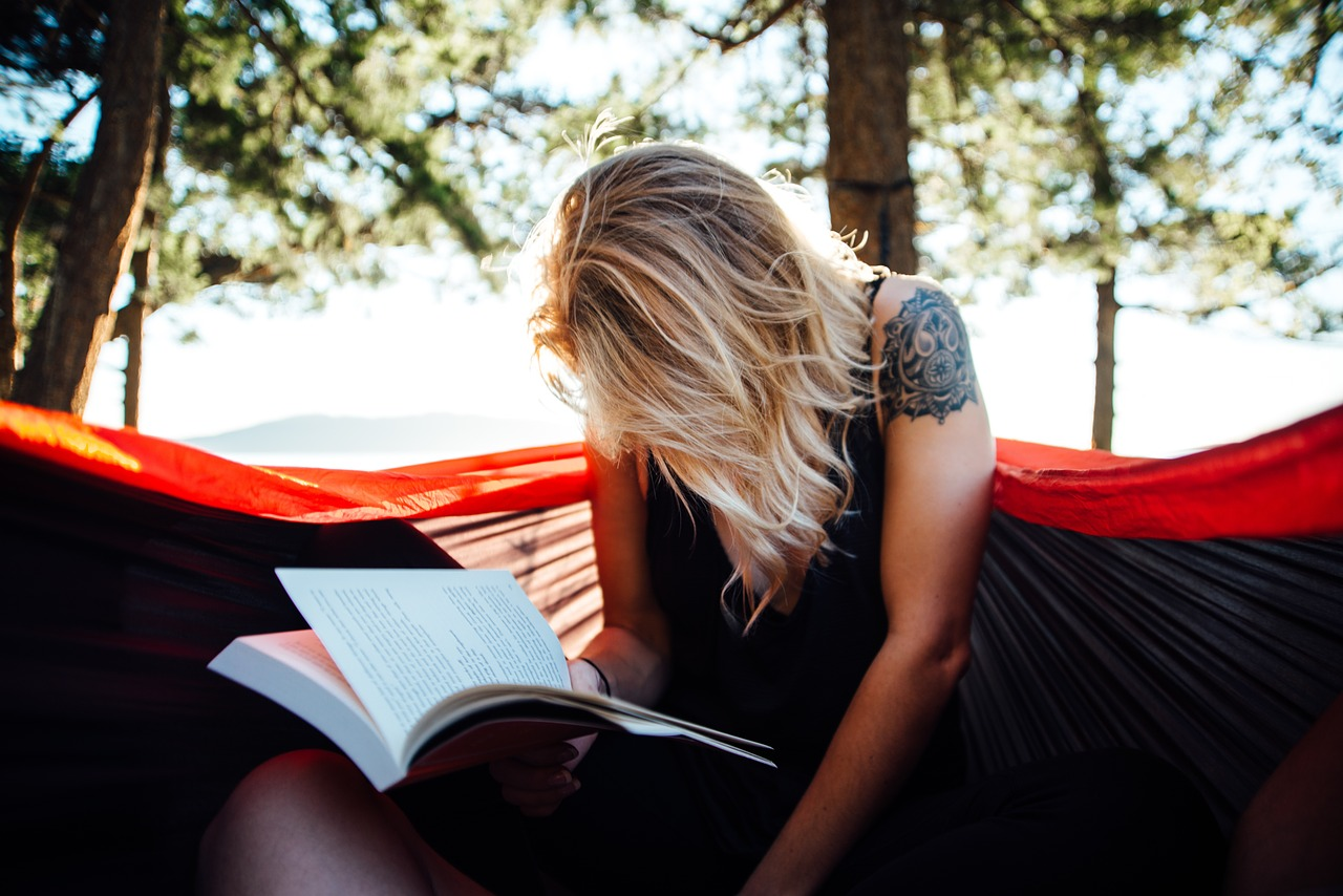 woman, reading, book