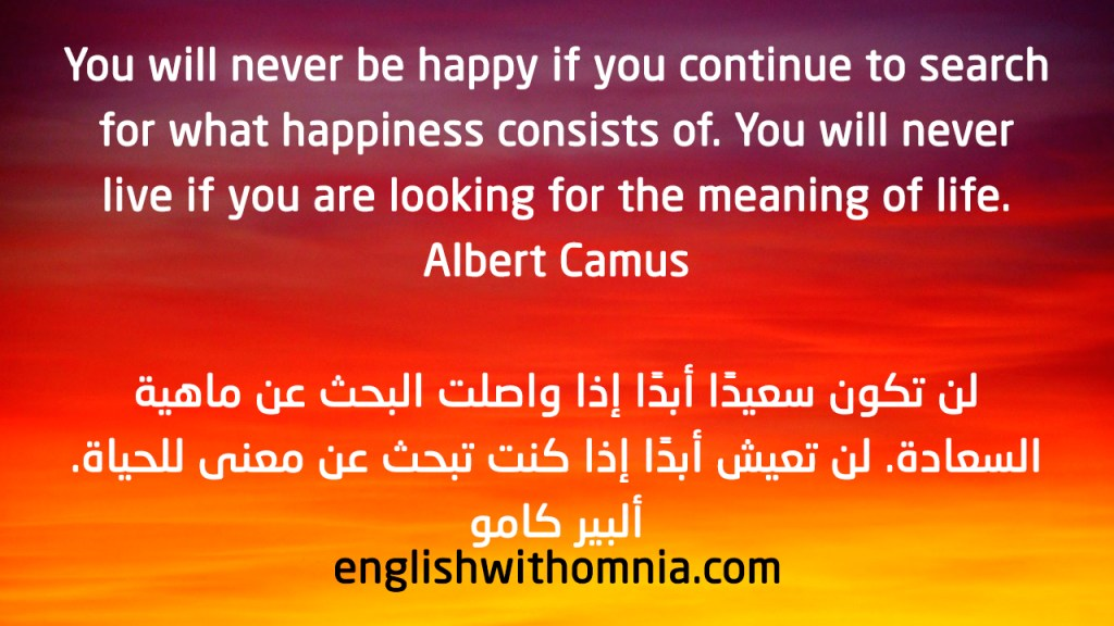 You will never be happy if you continue to search for what happiness consists of. You will never live if you are looking for the meaning of life. Albert Camus