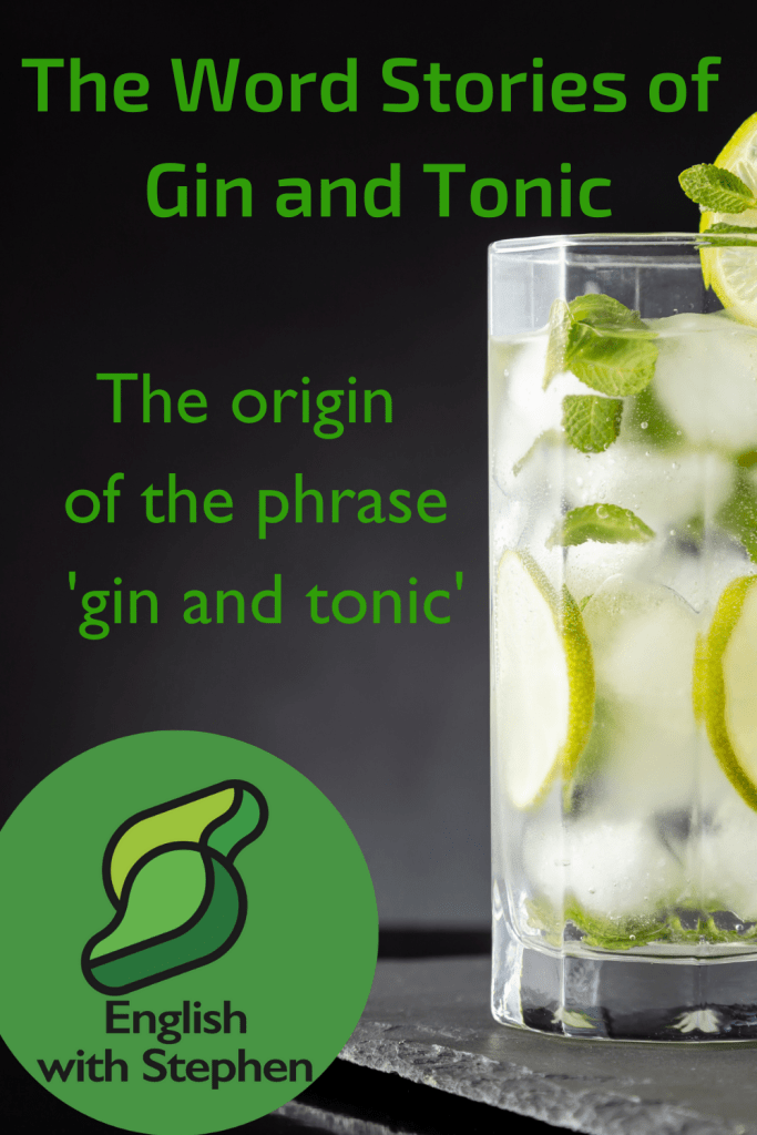 A tall glass of gin and tonic with lots of ice and lemon on a black background. Text: The word stories of gin and tonic. The origin of the phrase 'gin and tonic' by English with Stephen