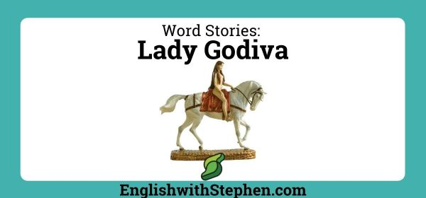 Lady Godiva on a white horse, by English with Stephen
