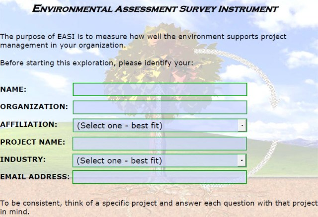 Environmental Assessment Survey Instrument (EASI) is a guide to successful projects.