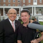 Sound Recordist Matt Langley with Former New York City Mayor Rudy Giuliani during Richard Hanna's 24th Congressional District race in 2010.