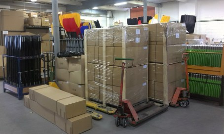 New packages awaiting their pickup in the Shipping department to be delivered to the customer.