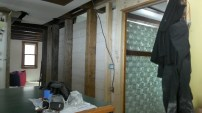Downstairs post wall with barnboard.