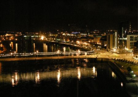 Clayton Hotel Limerick bedroom view at night