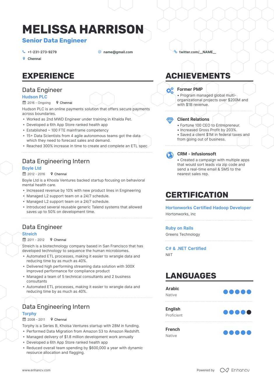 Data Engineer Resume Examples Do S And Don Ts For 2021 Enhancv