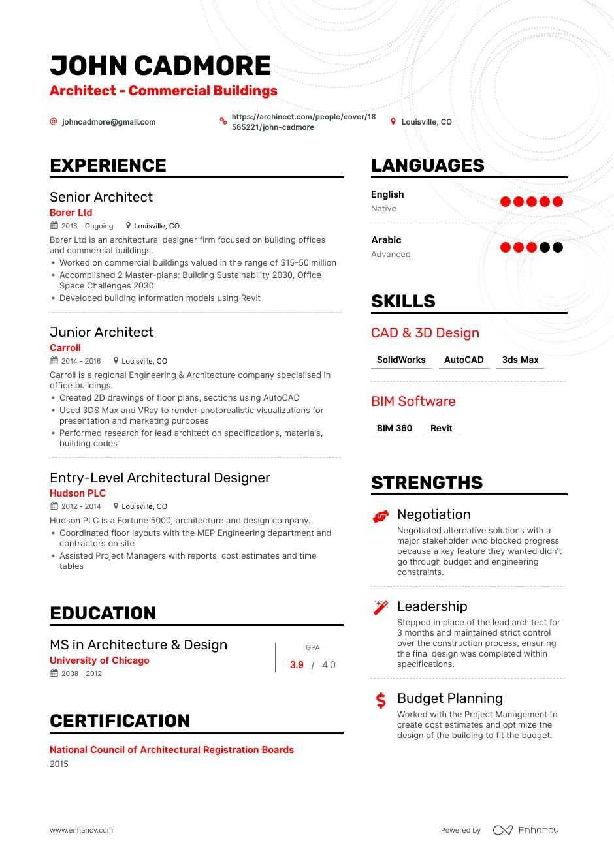 Top Architect Resume Examples Samples For 2021 Enhancv Com