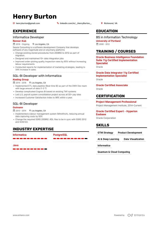 Informatica Resume Examples Inside How To Tips Enhancv