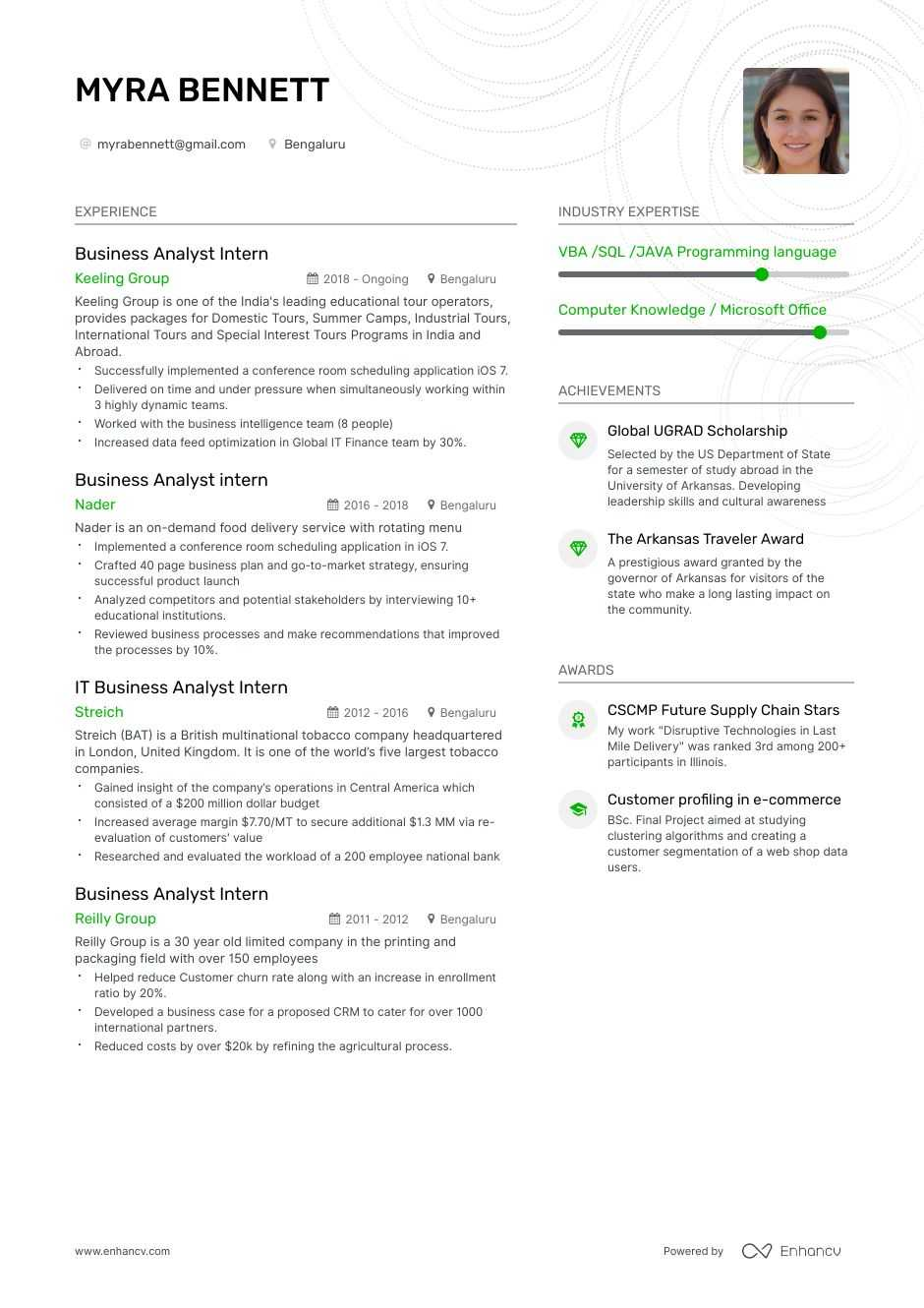 Business Analyst Intern Resume Example And Guide For 2020