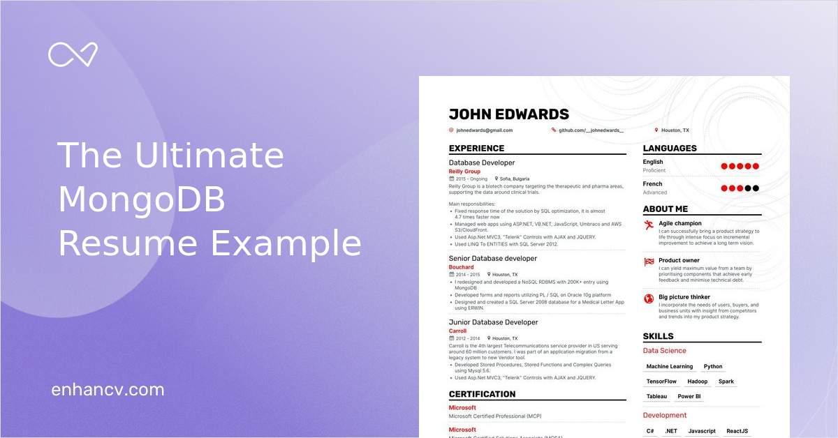 Top Mongodb Resume Examples Samples For 2021 Enhancv Com