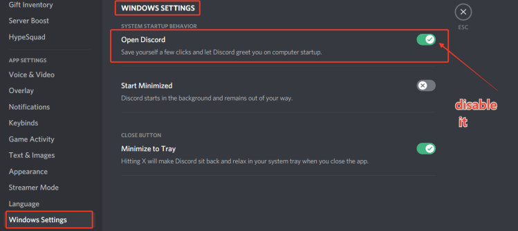 disable auto-start option in discord to stop it from opening on startup