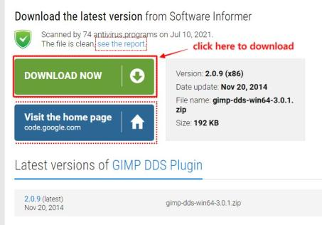 steps to install DDS plugin in GIMP