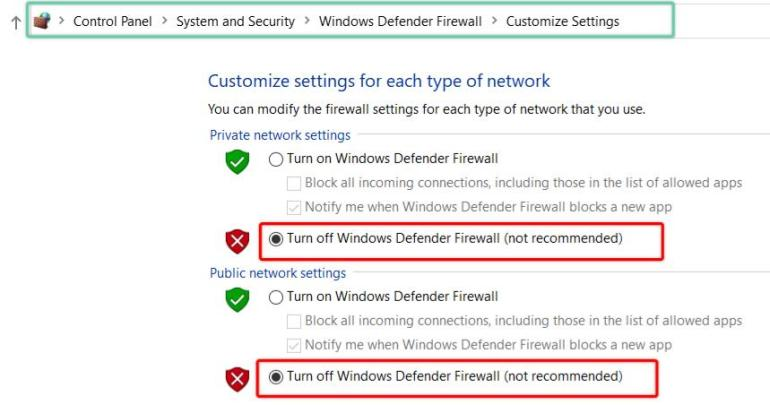 Detailed steps to temporarily disable windows firewall