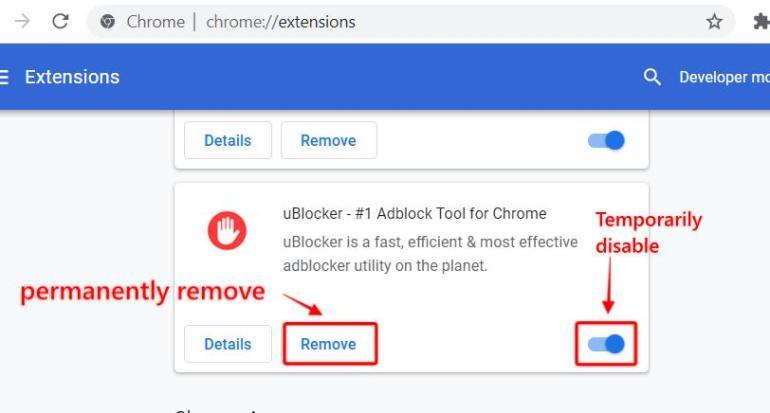 steps to remove adblocker extension to fix steam error code 105