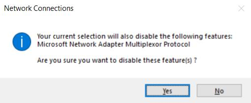 error message when we try to enable the microsoft network adapter multiplexor protocol manually