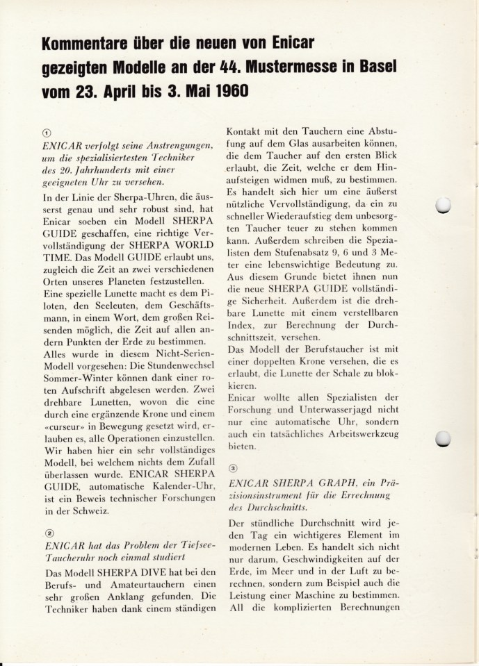Article Basel watch fair 1960