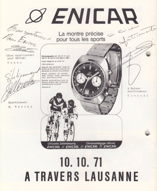 Enicar was the official time keeper of the 1971 cycling event A Travers Lausanne.