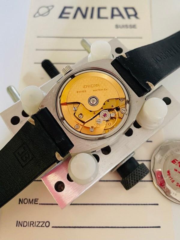 Enicar blue dial watch movement