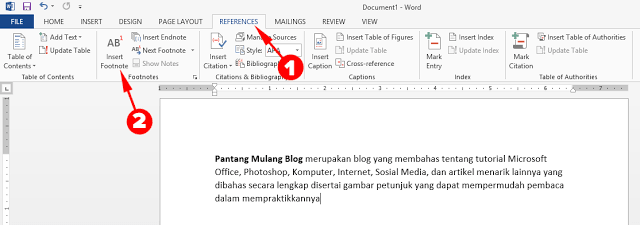 cara membuat footnote di ms word 2010