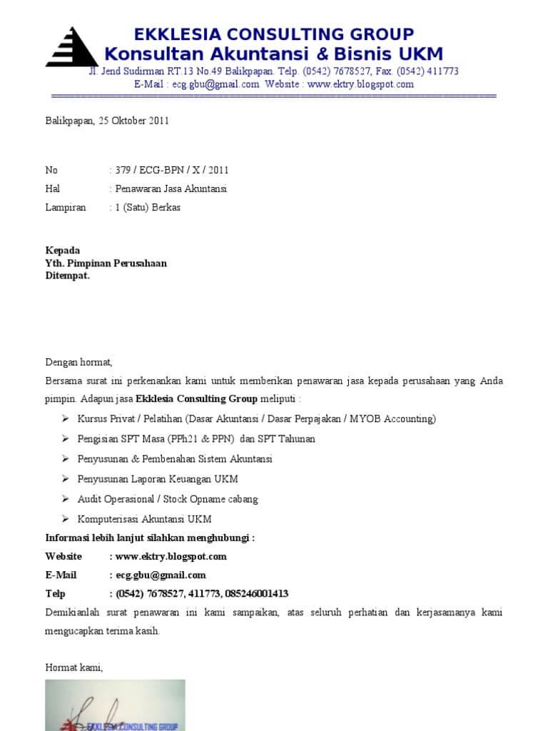 11+ Contoh Surat Penawaran Barang \/ Jasa \/ Kerjasama \/ Pesanan