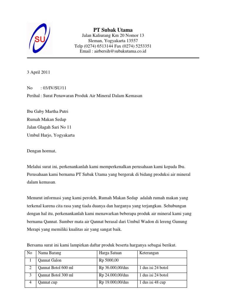11  contoh surat penawaran barang    jasa    kerjasama    pesanan