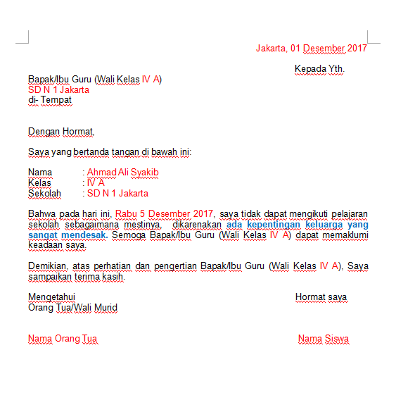 contoh surat izin karena kepentingan keluarga