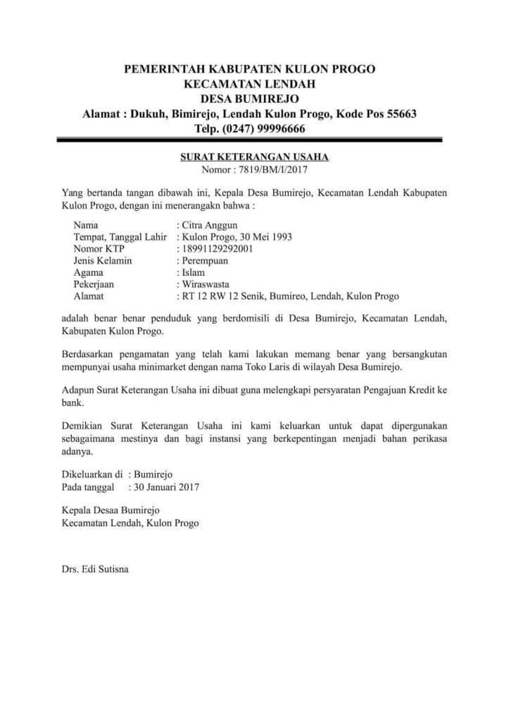 surat izin keterangan perdagangan