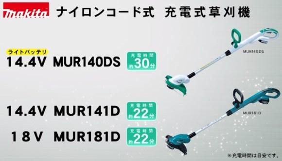 ナイロンコード式充電式草刈機-マキタ【MUR140DS-MUR141D-MUR181D】