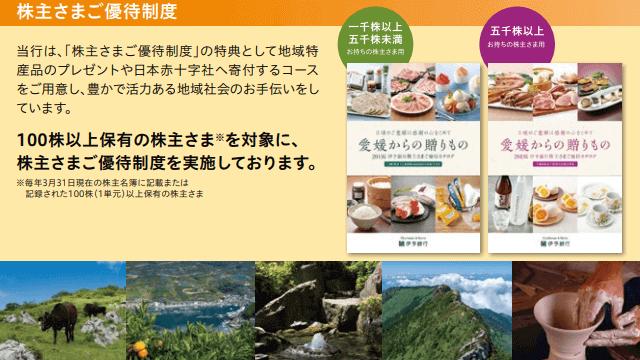 伊予銀行の株主優待内容