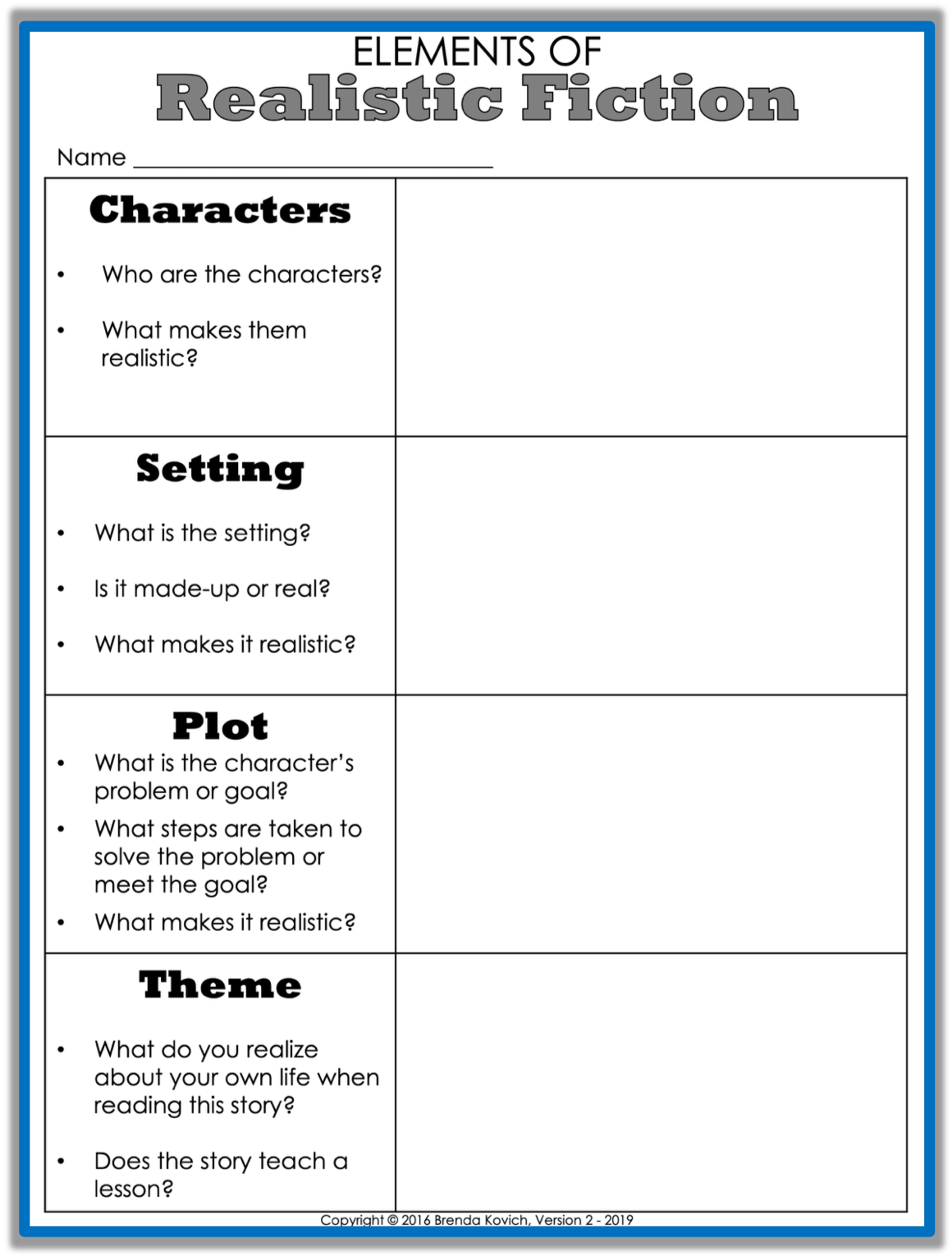 Elements Of Historical Fiction Worksheets