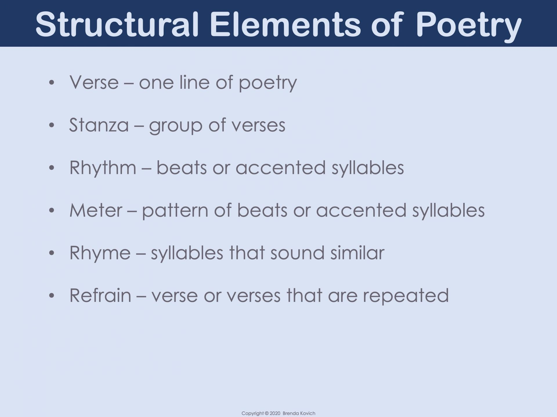 Structural Elements Of Poetry
